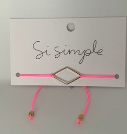 BRACELET DIAMANT : ROSE FLUO ET OR