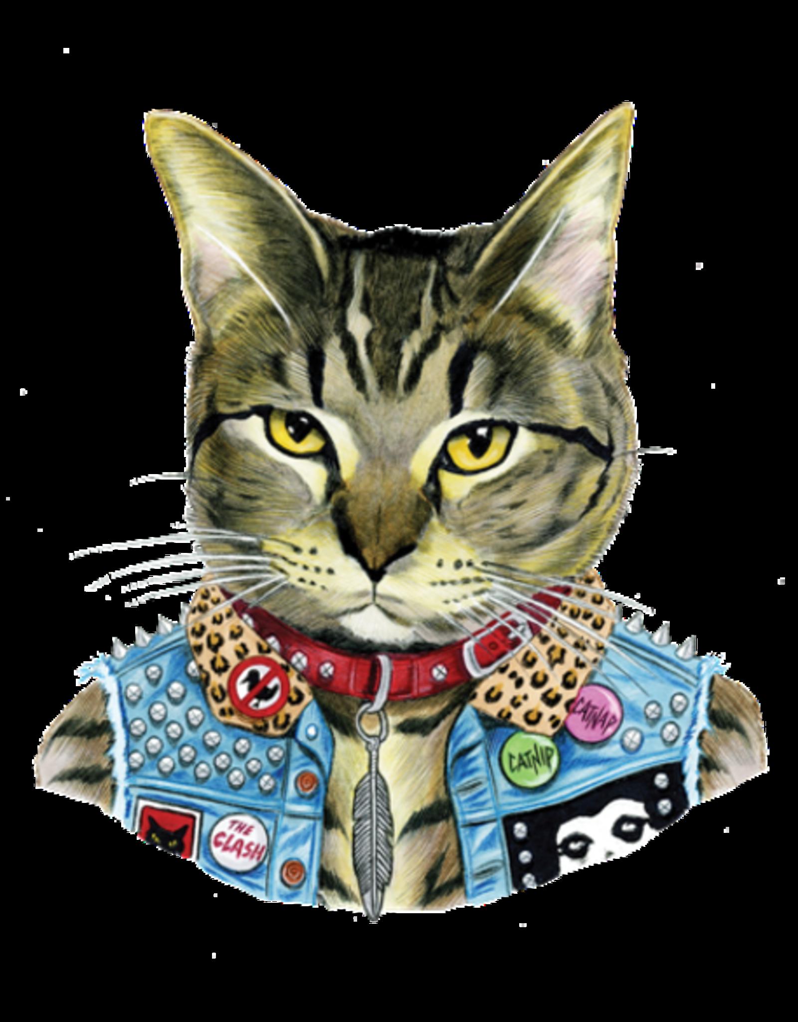 """TATOUAGES TEMPORAIRES : PUNK CAT PAR BERKLEY ILLUSTRATION - 3"""" X 3.5"""""""