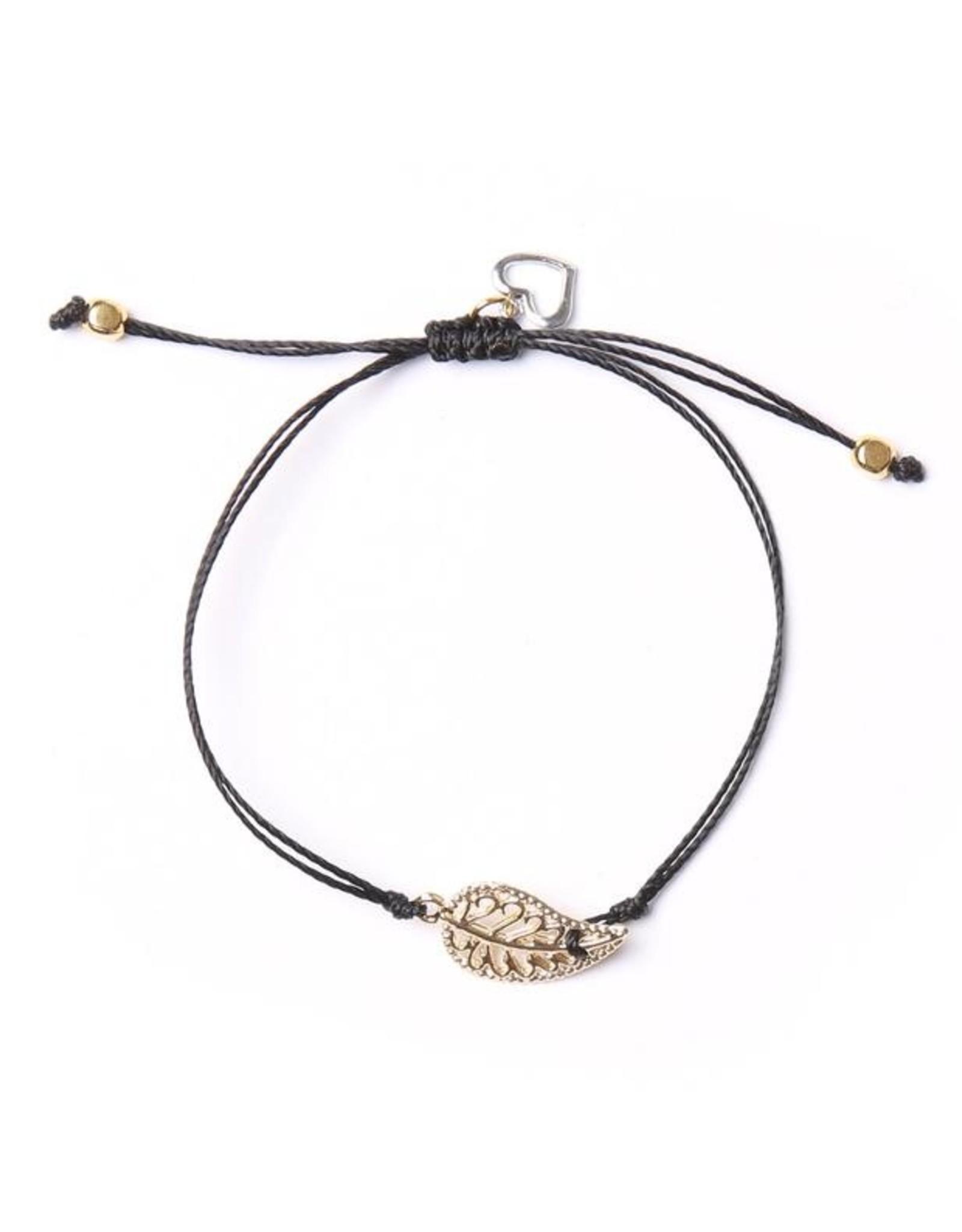 Bracelet Leaf par Si Simple Noir et Or