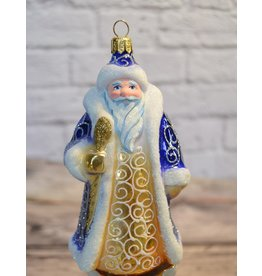 Grandfather Frost Blue Glass Ornament