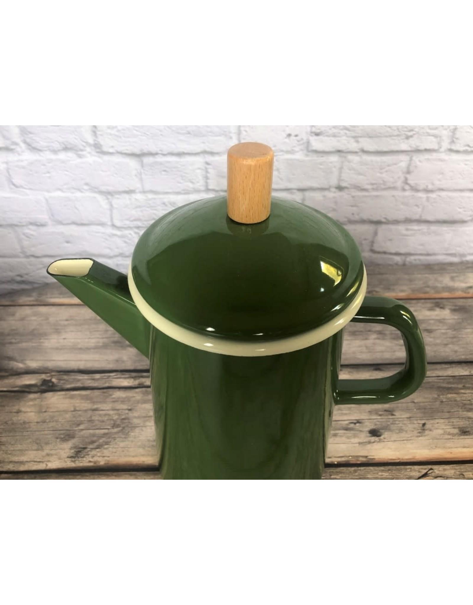 Retro Enamelware Coffee Pot in Green