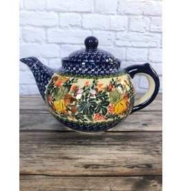 Kalich Pottery Blue Teapot with Autumn Leaves