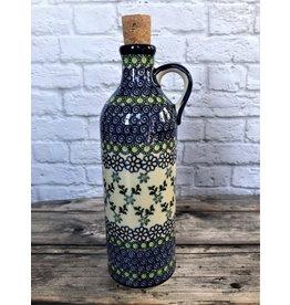 Kalich Pottery Kalich Polish Pottery  Olive Oil Bottle Blue Floral