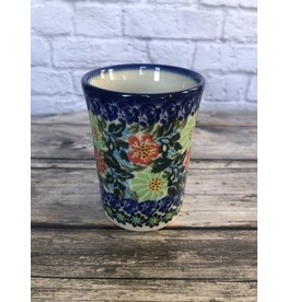 Kalich Blue with Red Flowers Pottery Tumbler