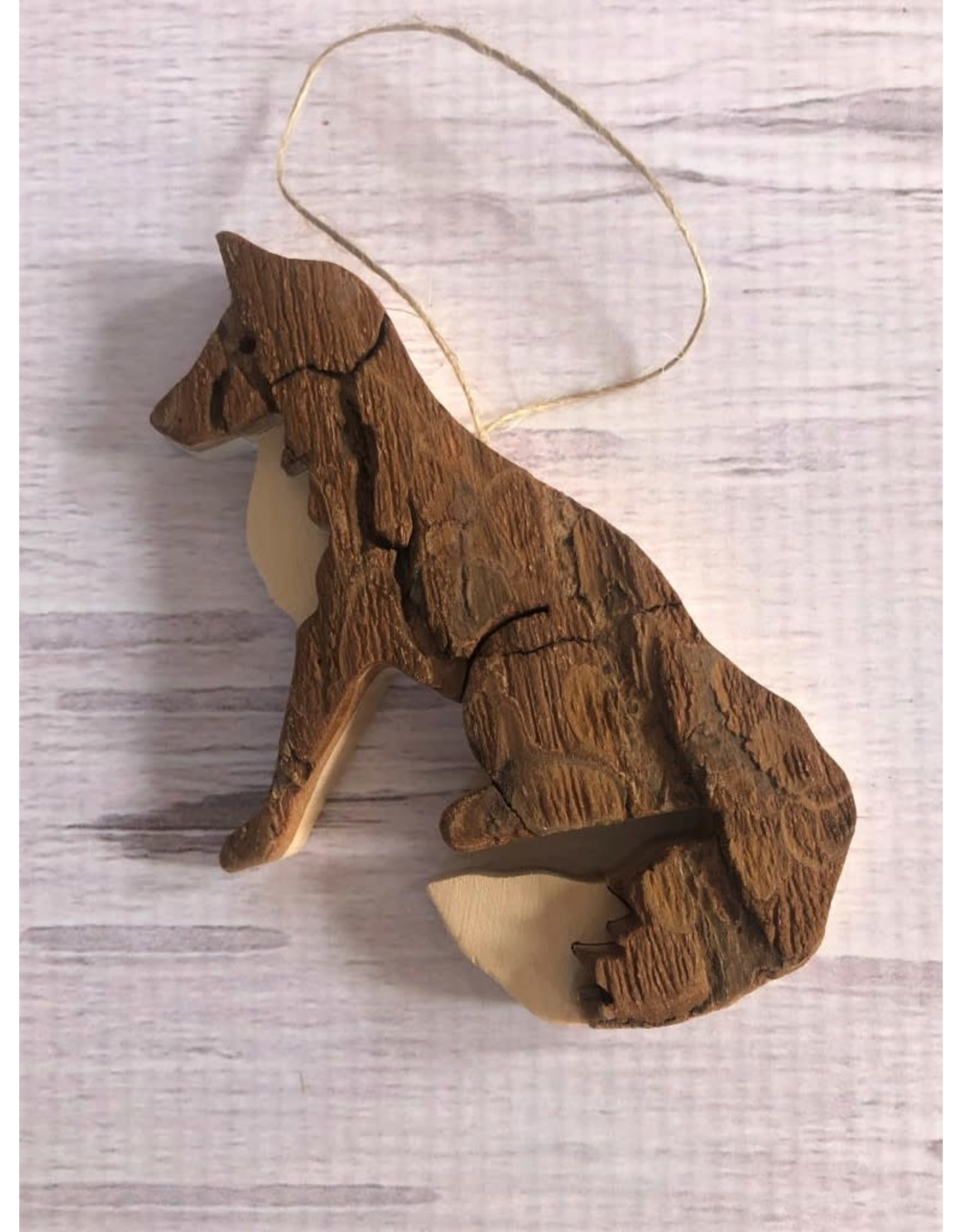 Hand Made Carved Bark Fox Ornament