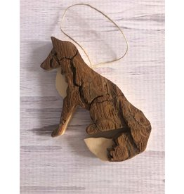 Hand Made Bark Fox Ornament