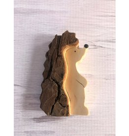 Hand Made Bark Wood Hedgehog Small