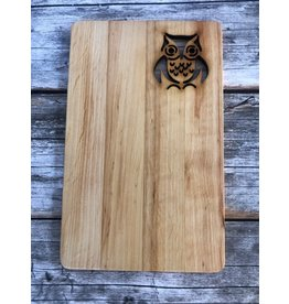 Hand Made Hand Carved Wood Sandwich Board with Owl Cutout