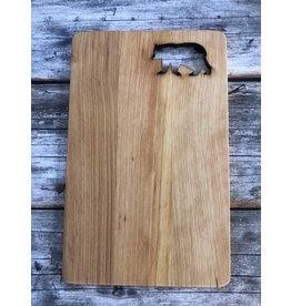 Hand Carved Wood Sandwich Board with Bear Cutout