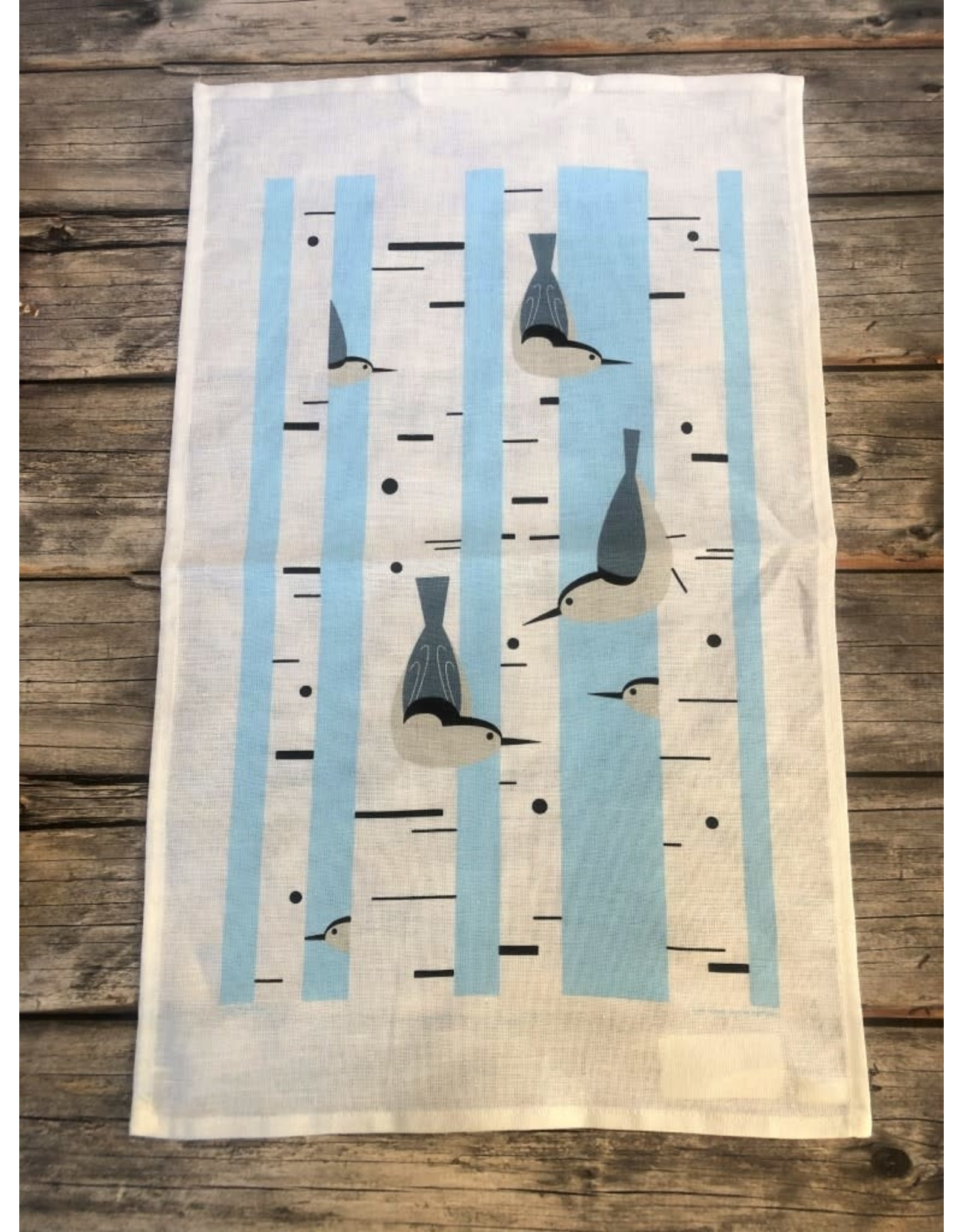 Birch Forest with Birds Tea Towel