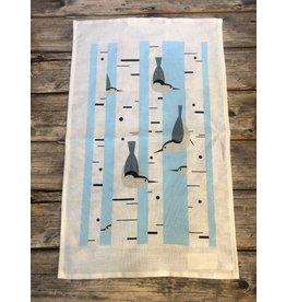 Birch Forest with Birds Tea Towel