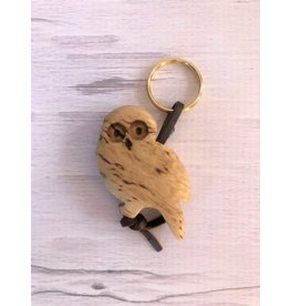 Birch Burlwood Owl Key Ring