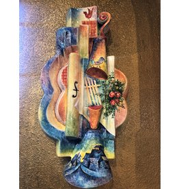Kitmir Wall Sculpture Guitar with Pastel Cityscape