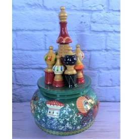 St. Basil's Music Box Hand Painted with Winter Scenes