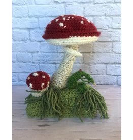 Knit Red and White Mushroom Figurine
