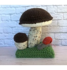 Knit Brown Mushroom Figurine with Snail