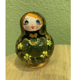 Green Matryoshka Gold Floral (Five-Piece)