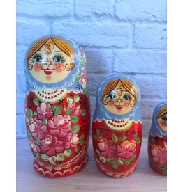 Red Matryoshka with Red Beads (Five-Piece)