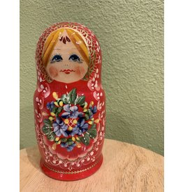 Red Matryoshka with Gold Lace Crown (Five-Piece)