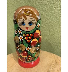 Matryoshka with Golden Strawberries (Five-Piece)