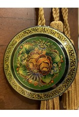 Lacquer Pin with Green Pinecones