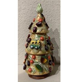 Gold and Green Christmas Tree Matryoshka (Three-Piece)