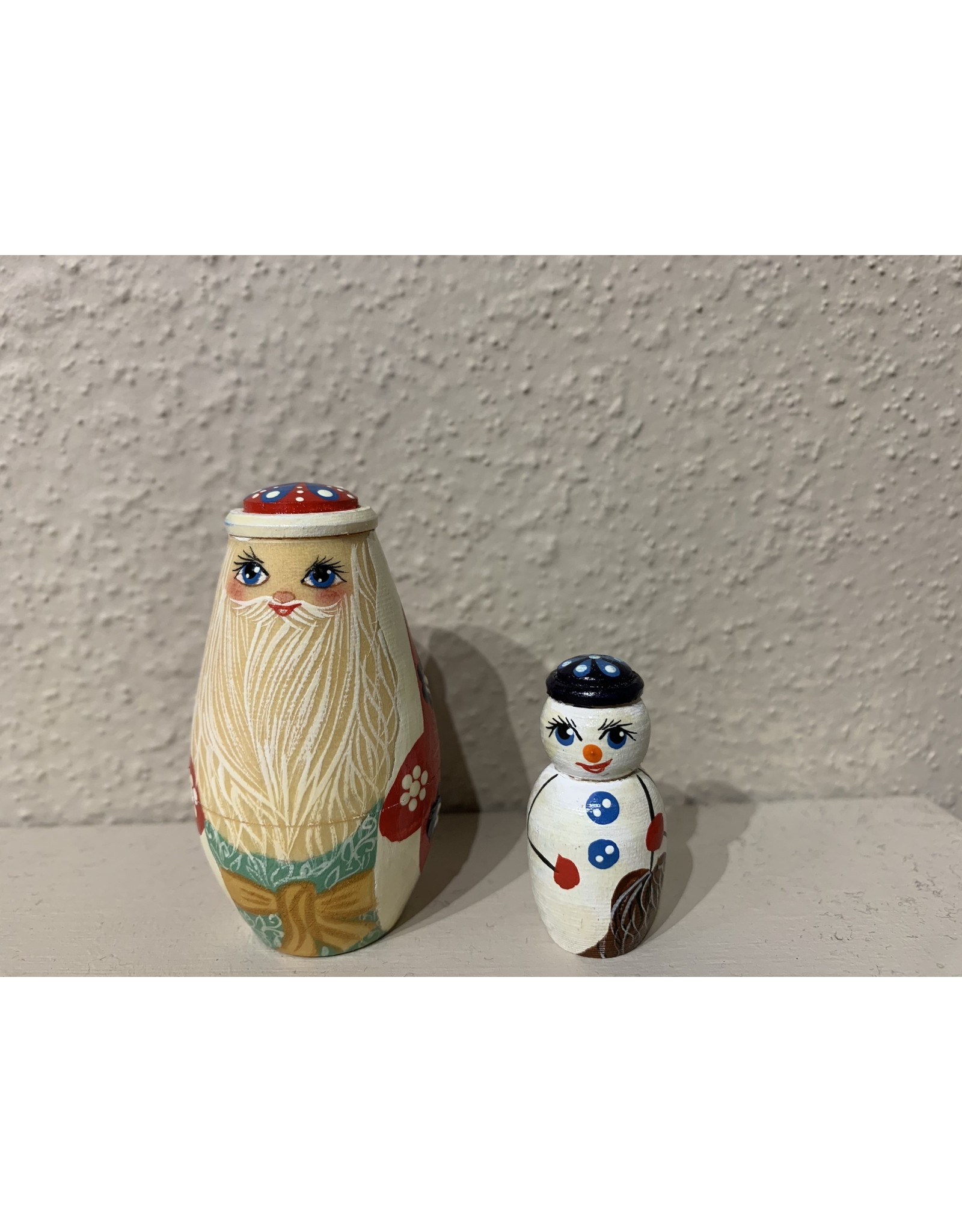 Gold and Green Christmas Tree Matryoshka (Three-Piece)