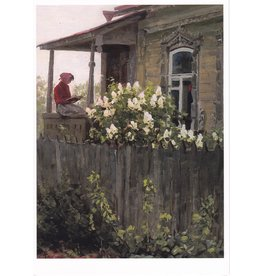 "Barchenkov ""Spring, Reading on the Porch"" Notecard"