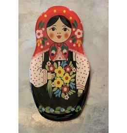 Matryoshka Magnet with Black Floral Apron