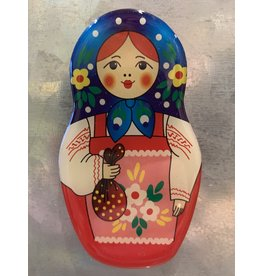 Matryoshka Magnet with Blue Scarf