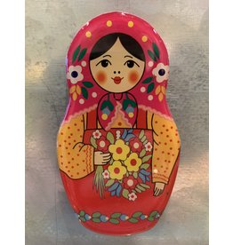 Matryoshka Magnet with Pink Scarf