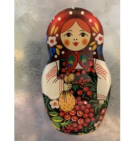 Matryoshka Magnet with Kalinka Berries