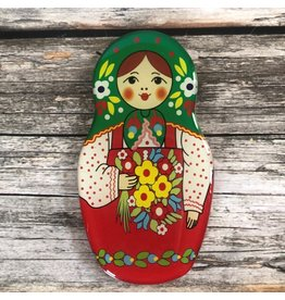 Matryoshka Magnet with Green Scarf