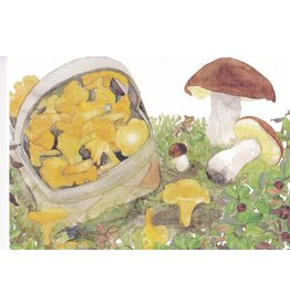 """Mushroom Picking"" Watercolor Notecard"