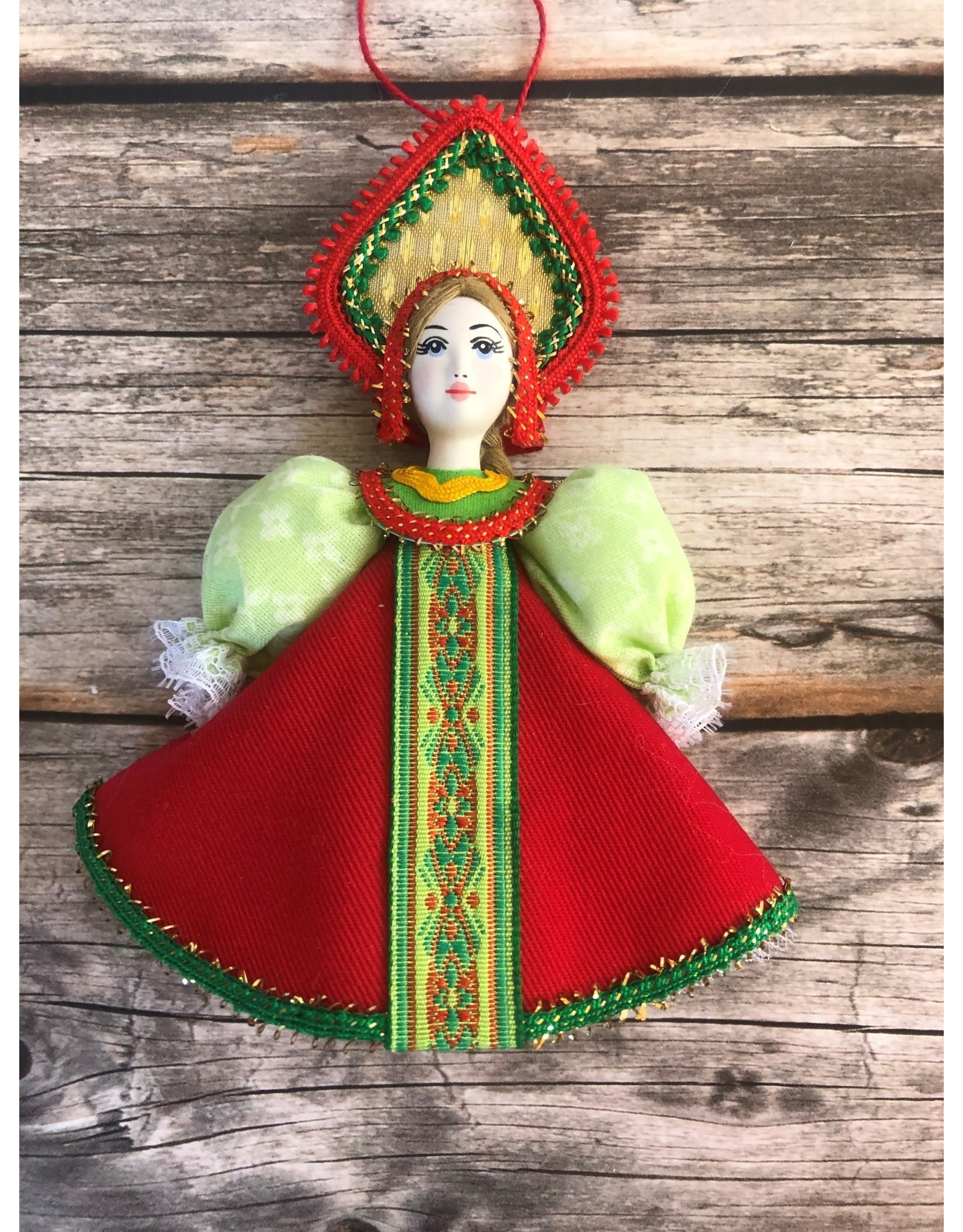 Folk Costume Ornament in Red and Green