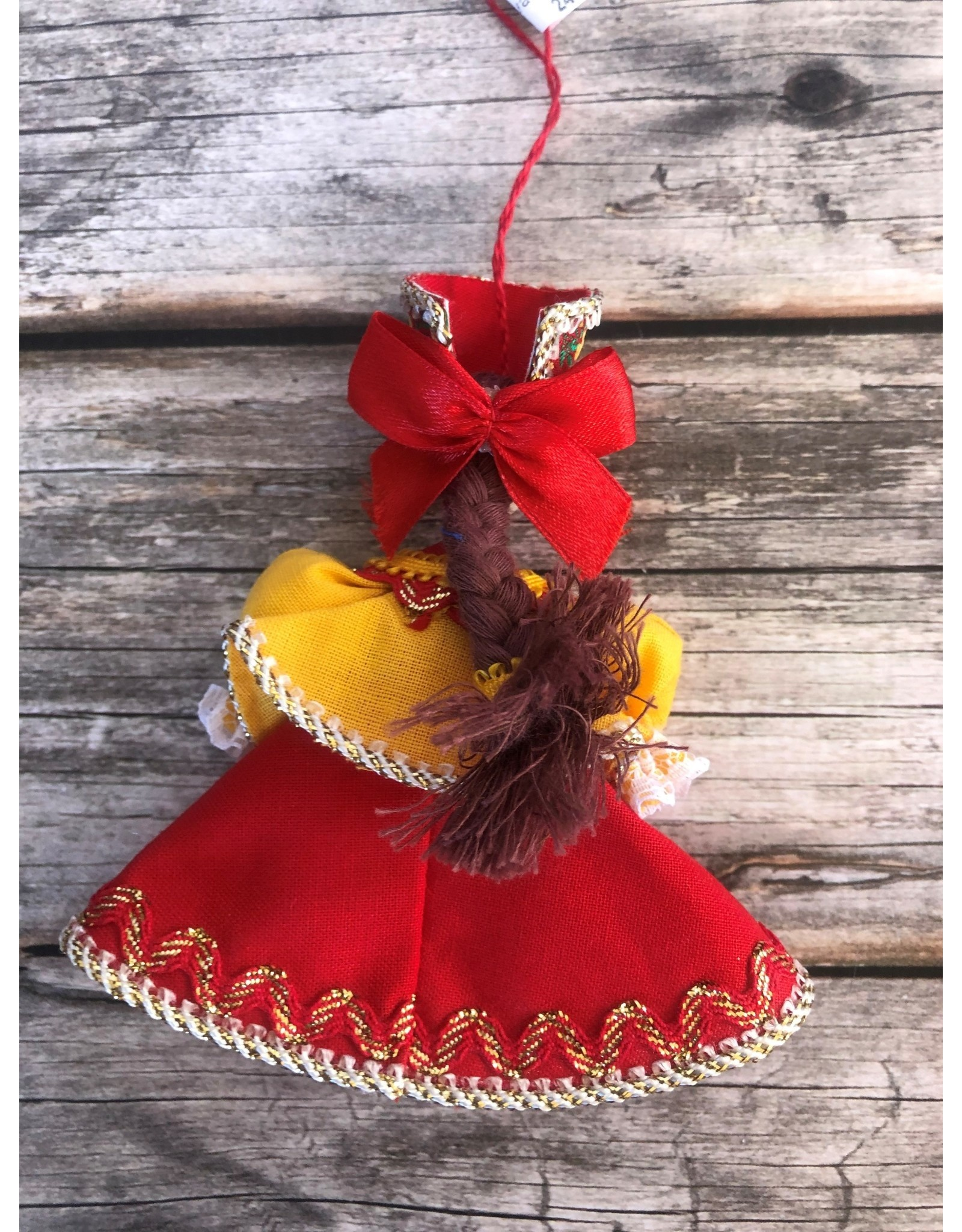 Folk Costume Ornament in Red and Yellow