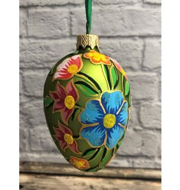 Glass Egg Ornament Green Floral