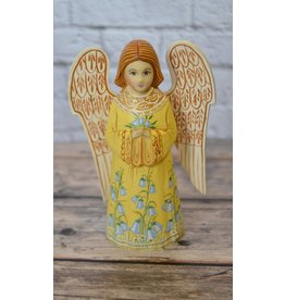 Wooden Angel with Bluebell Flowers in Yellow