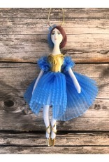 Ballerina Ornament in Light Blue and Gold