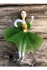 Ballerina Ornament in Green and Gold