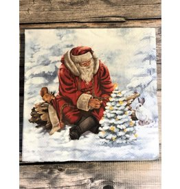Santa with Tree Luncheon Napkin