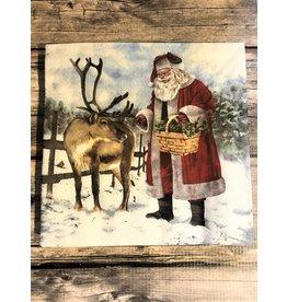 Santa Feeding Reindeer Luncheon Napkin