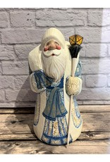 Carved Wood Santa with Blue Sash