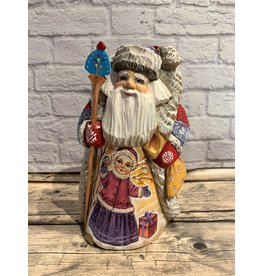 Carved Wood Santa with Girl and Bird