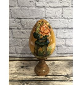 Wooden Egg with Gnome and Rose