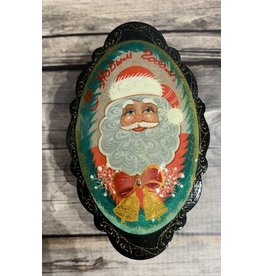 Lacquer Box with Santa and Bells (Green)