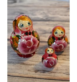 Pink Matryoshka with Purple Peony (Five-Piece)