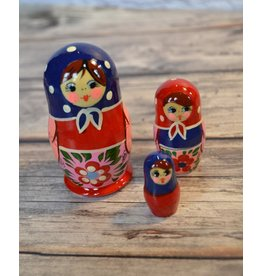 Traditional Matryoshka Blue Scarf (Three-Piece)