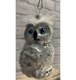 Feathered Glitter Glass Owl Ornament (White)