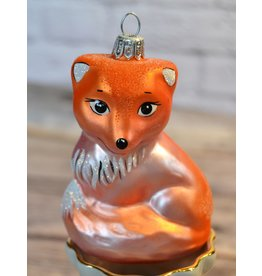 Glass Fox Holiday Ornament